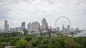 Blick auf den Singapur Flyer